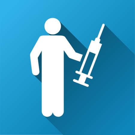 drug dealer: Drug Dealer vector toolbar icon for software design. Style is a white symbol on a square blue background with gradient long shadow. Illustration