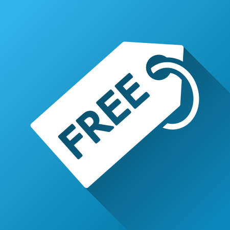 allowed to pass: Free Tag vector toolbar icon for software design. Style is a white symbol on a square blue background with gradient long shadow.
