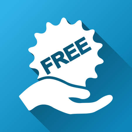 allowed to pass: Give Free Sticker vector toolbar icon for software design. Style is a white symbol on a square blue background with gradient long shadow.