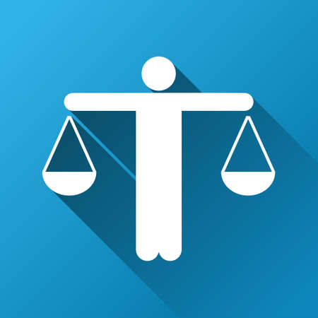 Lawyer vector toolbar icon for software design. Style is a white symbol on a square blue background with gradient long shadow. Illustration