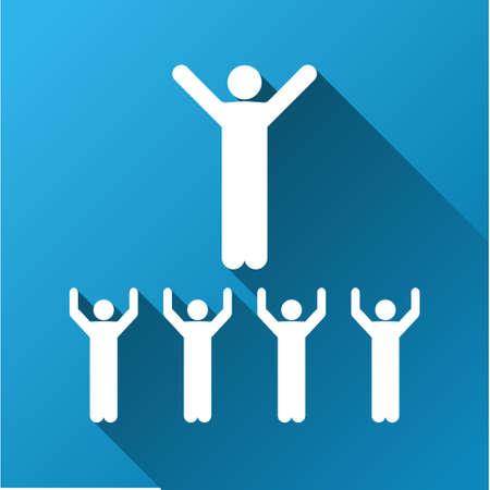 social gathering: Religious Sect vector toolbar icon for software design. Style is a white symbol on a square blue background with gradient long shadow.