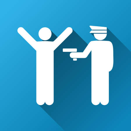 prison guard: Police Arrest vector toolbar icon for software design. Style is a white symbol on a square blue background with gradient long shadow.