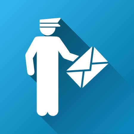 packet driver: Postman vector toolbar icon for software design. Style is a white symbol on a square blue background with gradient long shadow.
