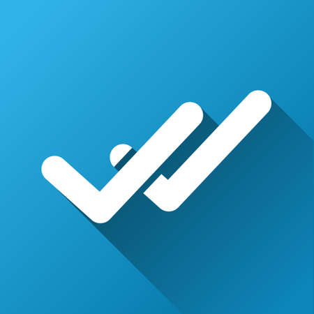 proceed: Validation vector toolbar icon for software design. Style is a white symbol on a square blue background with gradient long shadow.