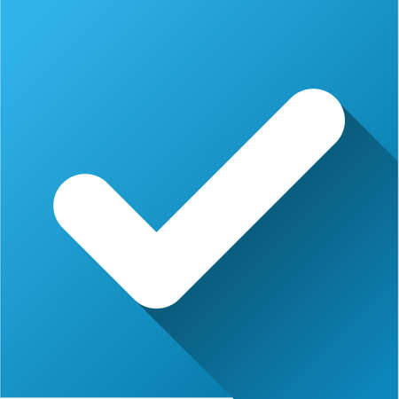 Yes vector toolbar icon for software design. Style is a white symbol on a square blue background with gradient long shadow.
