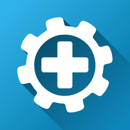 config: Medical Settings vector toolbar icon for software design. Style is a white symbol on a square blue background with gradient long shadow. Illustration