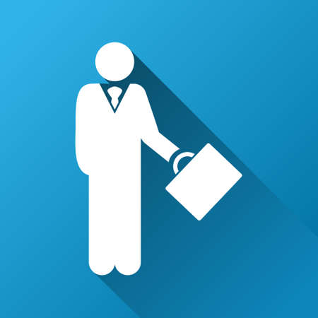 moneymaker: Businessman glyph toolbar icon for software design. Style is a white symbol on a square blue background with gradient long shadow.