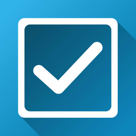 marked boxes: Checkbox glyph toolbar icon for software design. Style is a white symbol on a square blue background with gradient long shadow. Stock Photo