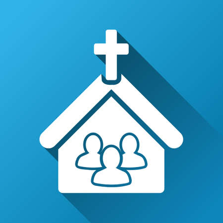 Church People glyph toolbar icon for software design. Style is a white symbol on a square blue background with gradient long shadow. Stock Photo