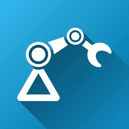 manipulator: Industrial Manipulator glyph toolbar icon for software design. Style is a white symbol on a square blue background with gradient long shadow.