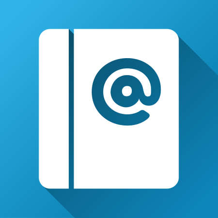 addresses: Emails glyph toolbar icon for software design. Style is a white symbol on a square blue background with gradient long shadow.