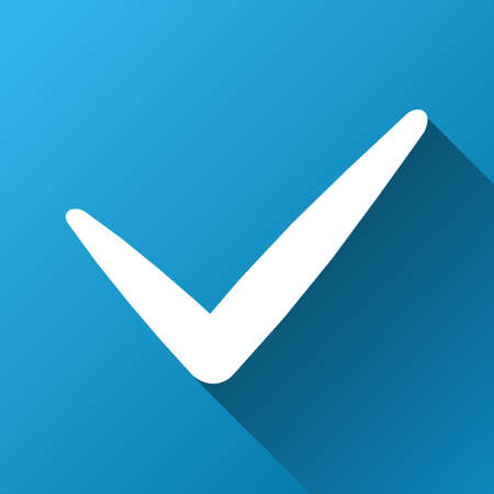 valid: Valid glyph toolbar icon for software design. Style is a white symbol on a square blue background with gradient long shadow.