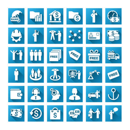 amount: Business vector toolbar icons for software design. Style is white symbols on a square blue background with gradient long shadow. Amount is 42 icons. Illustration