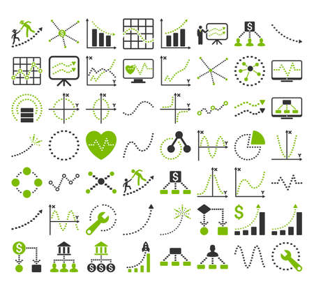 Business Charts With Rectangle Dots vector icons. Style is bicolor eco green and gray flat symbols on a white background. Illustration
