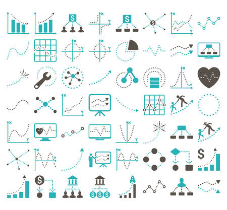 Business Charts With Rhombus Dots vector icons. Style is bicolor grey and cyan flat symbols on a white background. 56 icons in the set.
