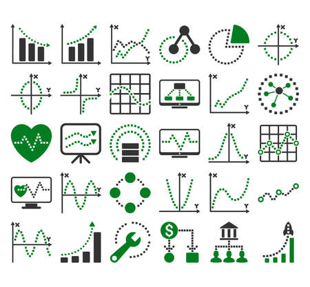 sine: Business Charts With Square Dots glyph icons. Style is bicolor green and gray flat symbols on a white background. Stock Photo