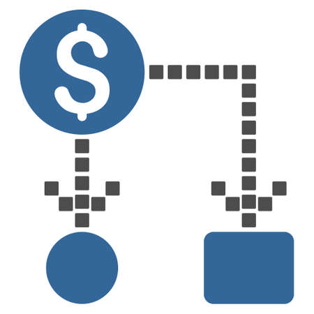 cashflow: Cashflow vector toolbar icon. Style is bicolor flat icon symbol, cobalt and gray colors, white background, square dots.
