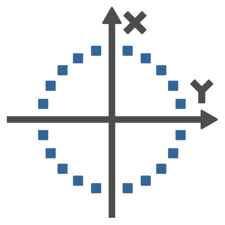and plot: Circle Plot vector toolbar icon. Style is bicolor flat icon symbol, cobalt and gray colors, white background, square dots.