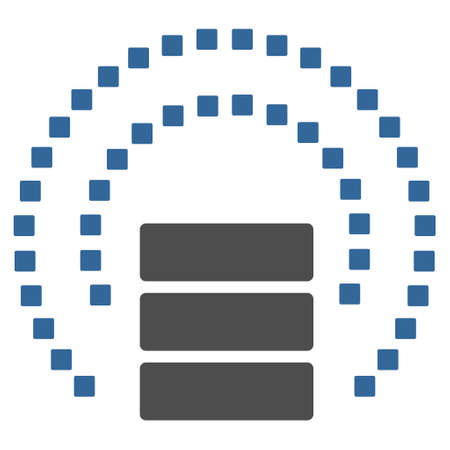 isolated on gray: Database Sphere Shield vector toolbar icon. Style is bicolor flat icon symbol, cobalt and gray colors, white background, square dots.
