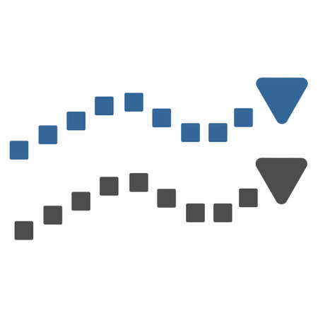 cobalt: Dotted Trend Lines vector toolbar icon. Style is bicolor flat icon symbol, cobalt and gray colors, white background, square dots. Illustration