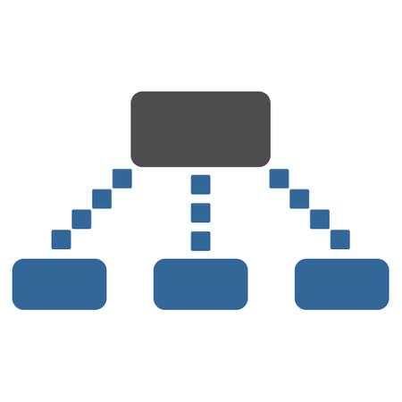 Hiérarchie Scheme barre d'outils de vecteur icône. Le style est bicolor icône plat symbole, le cobalt et les couleurs gris, fond blanc, des points carrés. Vecteurs