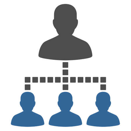 command structure: People Hierarchy vector toolbar icon. Style is bicolor flat icon symbol, cobalt and gray colors, white background, square dots. Illustration