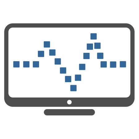 Pulse Monitoring vector toolbar icon. Style is bicolor flat icon symbol, cobalt and gray colors, white background, square dots.