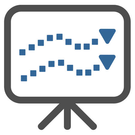 slide show: Trends Presentation vector toolbar icon. Style is bicolor flat icon symbol, cobalt and gray colors, white background, square dots.