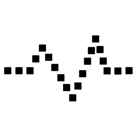 to pulsate: Pulse Chart vector toolbar icon. Style is flat icon symbol, black color, white background, square dots.