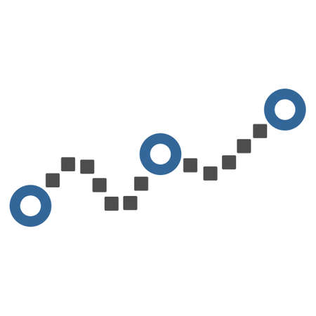 cobalt: Dotted Chart vector toolbar icon. Style is bicolor flat icon symbol, cobalt and gray colors, white background, square dots.