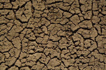 waterless: Scorched Ground. Dead Sand Surface. Ecological Catastrophe on the Earth. Stock Photo