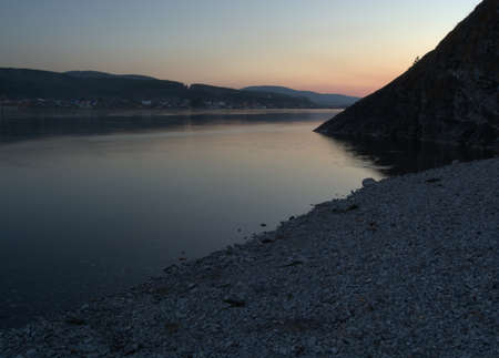crepuscle: Sunset on the River Enysey near Krasnoyarsk. Sibirian Landscape Photo.