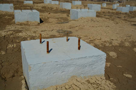 Concrete Foundation Construction Area. Industrial Zone Photo. Banco de Imagens