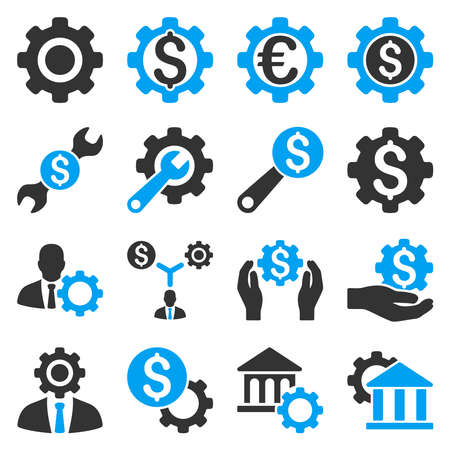 gear box: Financial tools and options icon set. Vector style is flat bicolor symbols, blue and gray colors, rounded angles, white background. Illustration