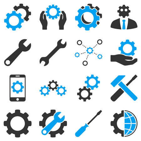 Options and service tools icon set. Vector style is flat bicolor symbols, blue and gray colors, rounded angles, white background. Ilustração