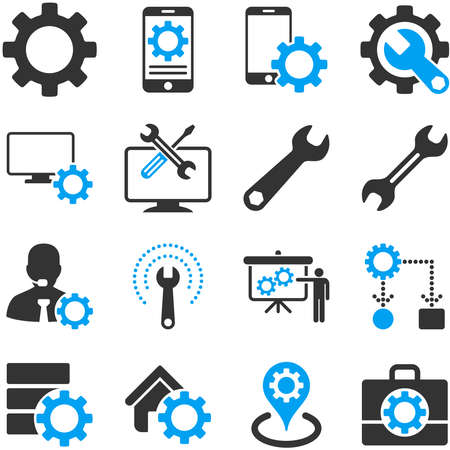Options and service tools icon set. Vector style is flat bicolor symbols, blue and gray colors, rounded angles, white background. Stock Illustratie