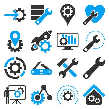 mantenimiento: Opciones y herramientas de servicio conjunto de iconos. estilo vector es símbolos planas bicolor, colores azul y gris, ángulos redondeados, fondo blanco.