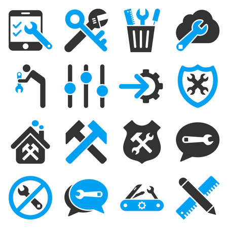 gear box: Options and service tools icon set. Vector style is flat bicolor symbols, blue and gray colors, rounded angles, white background. Illustration