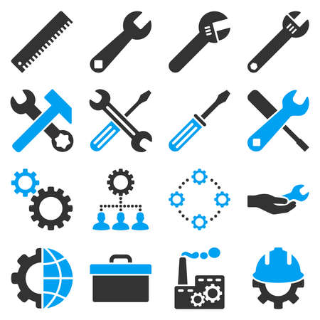 hardware configuration: Options and service tools icon set. Vector style is flat bicolor symbols, blue and gray colors, rounded angles, white background. Illustration
