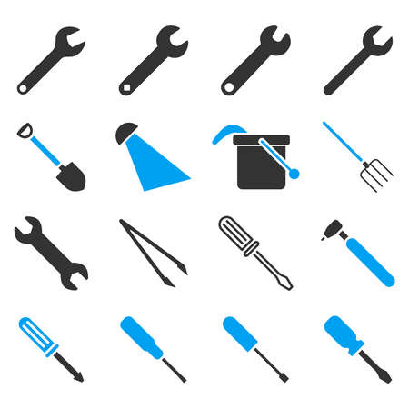 colorize: Instruments and tools icon set. Vector style is flat bicolor symbols, blue and gray colors, rounded angles, white background.
