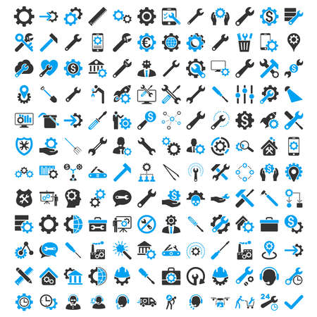 gear box: Options and service tools icon set with 144 icons. Vector style is flat bicolor symbols, blue and gray colors, rounded angles, white background. Illustration