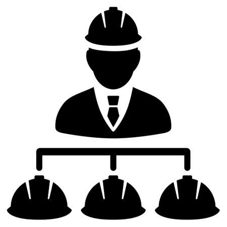 command structure: Builder Management vector icon. Style is flat icon symbol, black color, white background.