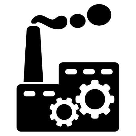Fabrik-Gebäude-Vektor-Symbol. Style ist flach Symbol Symbol, Farbe schwarz, mit weißem Hintergrund.