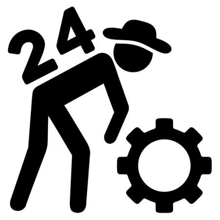 nonstop: Nonstop Working Person vector icon. Style is flat icon symbol, black color, white background.