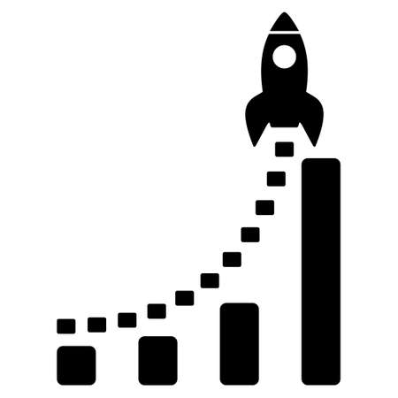 satellite launch: Rocket Business Start vector icon. Style is flat icon symbol, black color, white background.