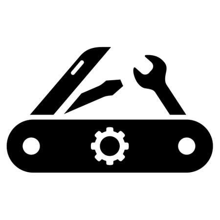 Swiss Knife vector icon. Le style est plat symbole de l'icône, couleur noire, fond blanc.