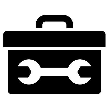 install: Toolbox vector icon. Style is flat icon symbol, black color, white background. Illustration