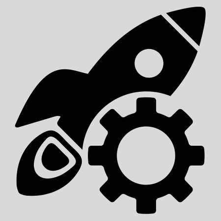 config: Rocket Development glyph icon. Style is flat icon symbol, black color, light gray background. Stock Photo