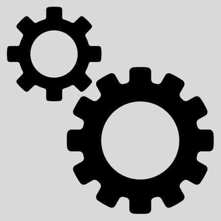 light transmission: Transmission Gears glyph icon. Style is flat icon symbol, black color, light gray background.