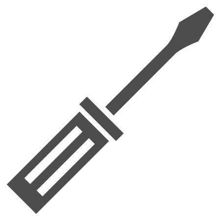 hardware configuration: Screwdriver vector icon. Style is flat icon symbol, gray color, white background.